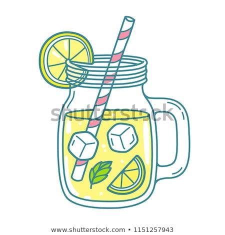 Glas vers limonade drinken stro voedsel Stockfoto © Imaagio