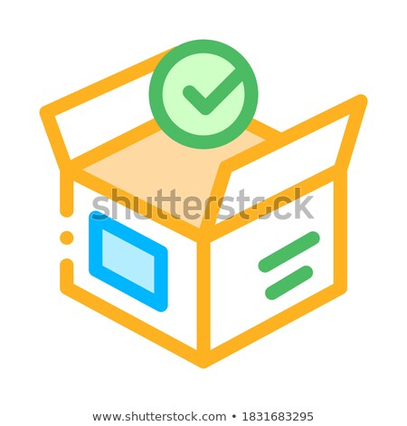 opened carton box approved element vector icon stock photo © pikepicture