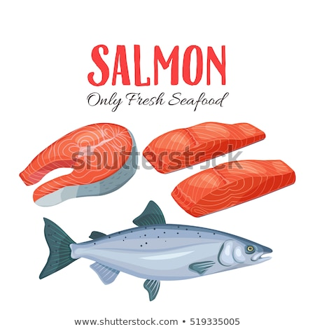 Meat vector - red fish salmon steak with lemon cuts. Fresh meat icon. Stock photo © MarySan