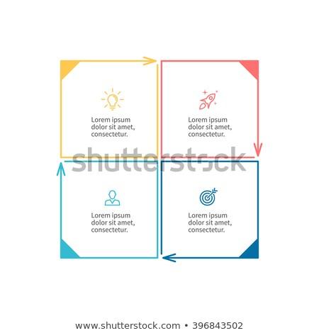 Stockfoto: Vier · vector · vierkante · blokken · sjabloon · vooruitgang
