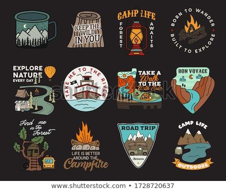 Road Trip Summer Adventure Graphic for T-Shirt, prints. Vintage hand drawn camp emblem. Retro travel Stock photo © JeksonGraphics