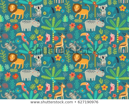wild animal seamless pattern wildlife cartoon icon stock photo © cienpies