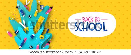 Stockfoto: Fun Back To School 3d Papercut Kid Supplies Banner