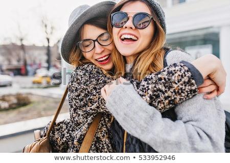 Dois amigos temporada de inverno sorrir amor Foto stock © Lopolo