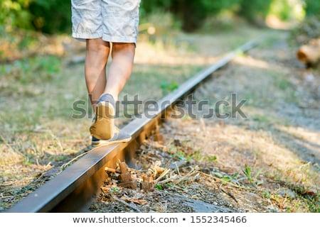 Chemin de fer jouer train enfant garçon Photo stock © Lopolo