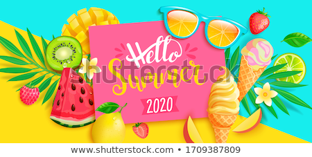 Hello Summer Vacation Advertise Banner Vector Stock photo © pikepicture