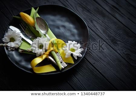Pasqua primavera tavola stoviglie giallo tulipano Foto d'archivio © dash