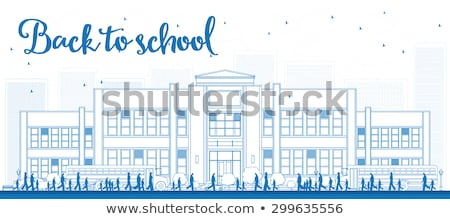 Outline Landscape with school bus, school building and people Stock photo © ShustrikS