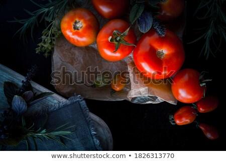収穫 ぬれた 赤 トマト 暗い ストックフォト © vkstudio