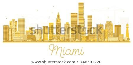 Miami City skyline golden silhouette. Stock photo © ShustrikS