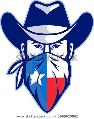 Bandita visel fejpánt Texas zászló kabala Stock fotó © patrimonio
