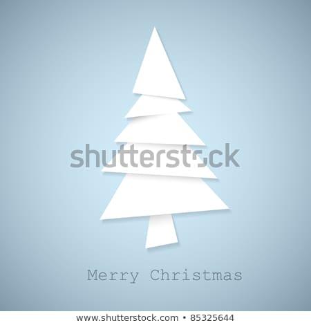 Basit vektör noel ağacı parçalar kâğıt beyaz Stok fotoğraf © orson