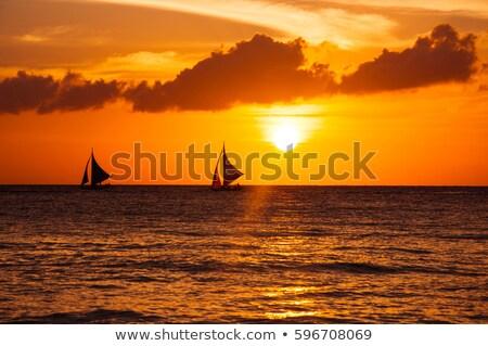 парусника красивой закат силуэта пейзаж лет Сток-фото © premiere