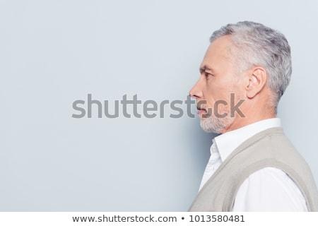 retrato · empresário · olhos · isolado · cinza · cara - foto stock © backyardproductions