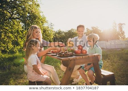 Rodziny śniadanie ogród domu domu owoców Zdjęcia stock © photography33