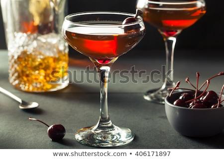 коктейль Manhattan стиль вишни изолированный белый Сток-фото © digitalstorm