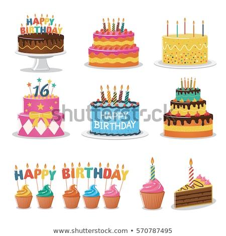 Stockfoto: Vector · verjaardagstaart · kaarsen · gelukkig · groene · leuk