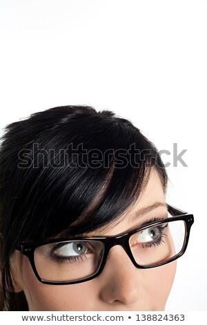 mulher · rosto · sorridente · retrato · jovem · adulto · amarelo - foto stock © photography33