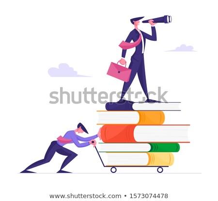 Kennis boeken geïsoleerd witte oranje Stockfoto © TheProphet