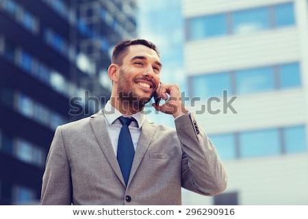 Foto stock: Empresário · telefonema · sincero · computador · laptop