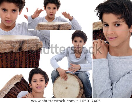 Montage of young boy with African drum Stock photo © photography33