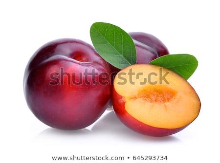 Foto d'archivio: Isolato · rosso · prugna · frutta · bianco · fresche