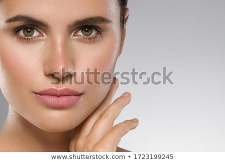 Makró gyönyörű ajkak lány arc szépség Stock fotó © ozaiachin