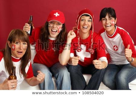Női sportok szurkolók fotó kettő mosolyog Stock fotó © sumners