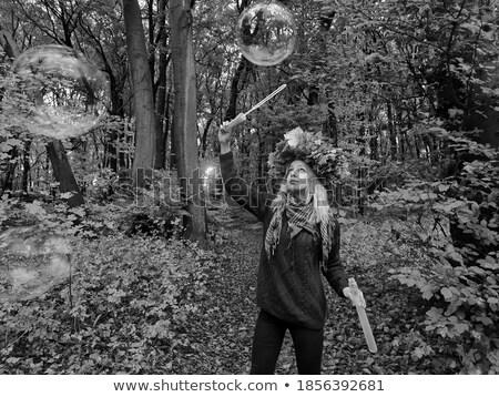 Natura scenico alla moda femminile posa foresta Foto d'archivio © gromovataya