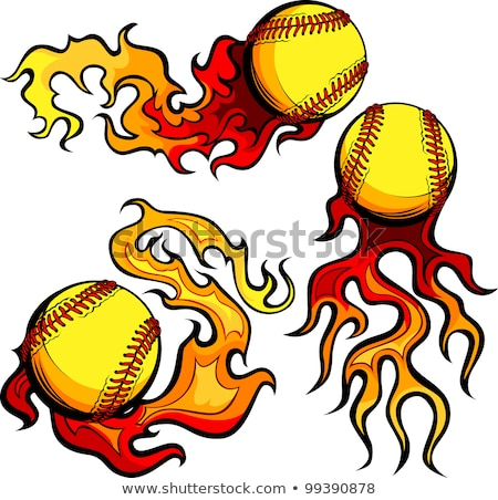 Flaming Softballs with Flames Vector Images stock photo © chromaco