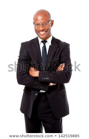 Szczęśliwy biznesmen broni fałdowy biały działalności Zdjęcia stock © wavebreak_media