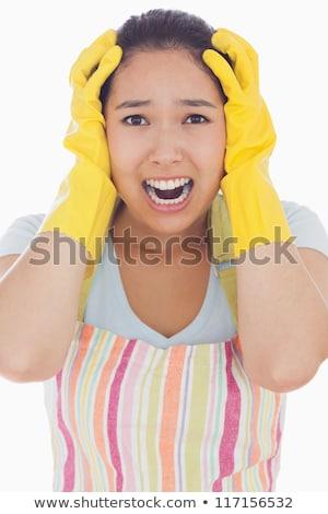 Vrouw handen hoofd schort rubberen handschoenen Stockfoto © wavebreak_media