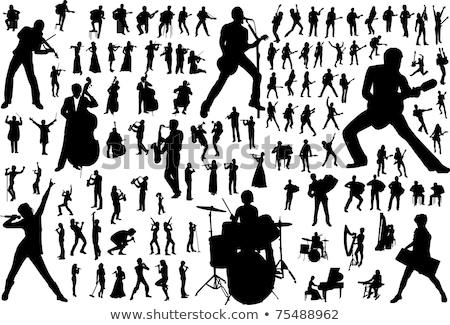 zenészek · sziluettek · különböző · férfi · énekes · énekel - stock fotó © koqcreative