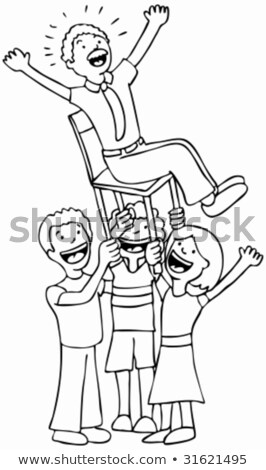 Hoera vader zwart wit kinderen lift vader Stockfoto © cteconsulting