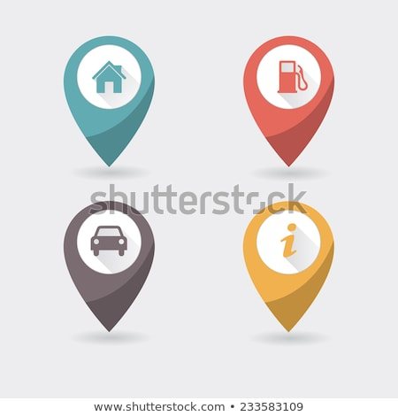Stock photo: Map marker with icons-set four