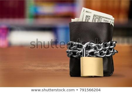 Zárolt pénztárca dollár bankjegyek pénz fém biztonság Stock fotó © snyfer