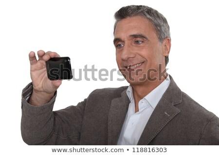 dojrzały · mężczyzna · siwe · włosy · patrząc · touchpad · Widok · techniczne - zdjęcia stock © photography33