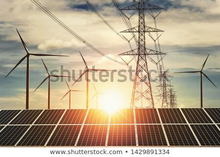 tájkép · elektromos · transzformátor · állomás · kék · ég · égbolt - stock fotó © ssuaphoto