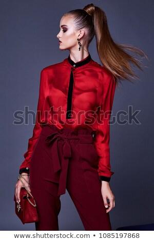 красивой шелковые блузка портрет женщину Сток-фото © Pilgrimego
