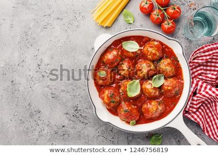 Stock fotó: Spagetti · paradicsomszósz · húsgombócok · ebéd · étel · edény