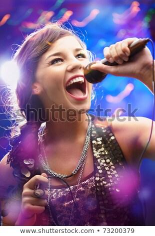 pop · star · biały · szczęśliwy · włosy · mikrofon - zdjęcia stock © elnur