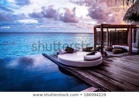 Başvurmak bungalov plaj tropikal Sri Lanka çiçek Stok fotoğraf © Hofmeester