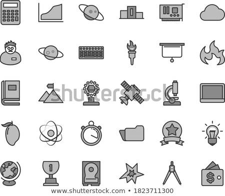 White Keyboard with Microscope Icon Button. Stock photo © tashatuvango