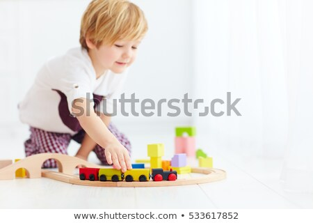 Houten speelgoed trein brug grijs horizontaal afbeelding Stockfoto © gewoldi
