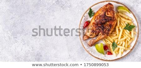 tyúk · grill · lángoló · tűz · étterem · madár - stock fotó © aetb