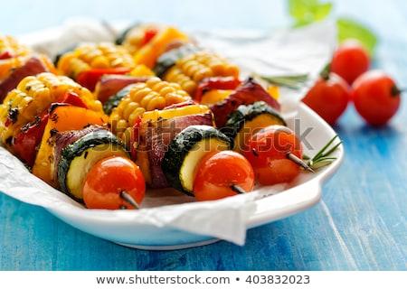 zöldség · kebab · étel · ebéd · gomba · barbecue - stock fotó © M-studio