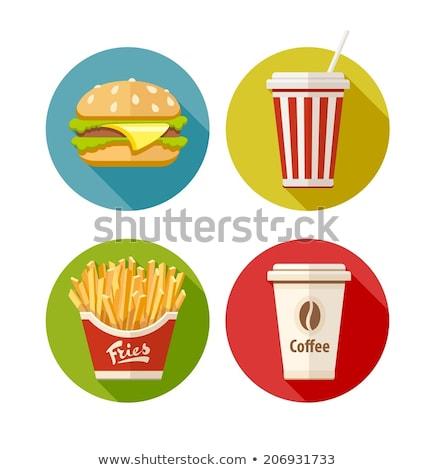 Establecer icono hamburguesa papas fritas sosa café Foto stock © LoopAll