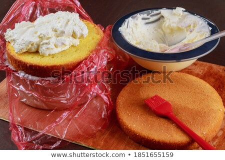 Vanilla sponge cake decorate with whipped cream  Stock photo © nalinratphi