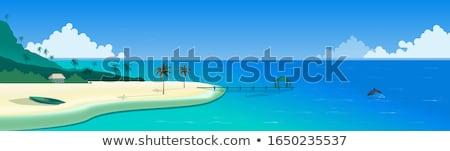 verão · viajar · silhueta · praia · pôr · do · sol · retro - foto stock © oblachko