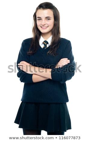 Glücklich anziehend junge Mädchen Schuluniform Rucksack Schultern Stock foto © stryjek